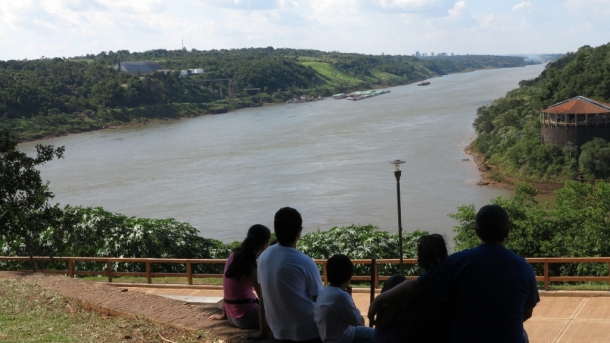 A family at three borders. Paraguay is on the left, Brazil on the right