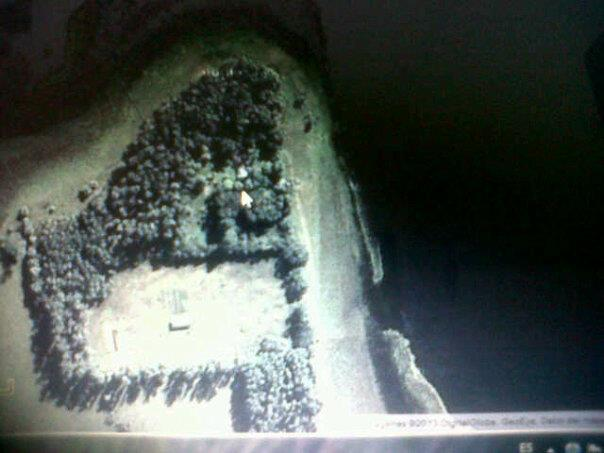 Satellite image of Abuelita Justa. The black stuff around the trees is all wetland