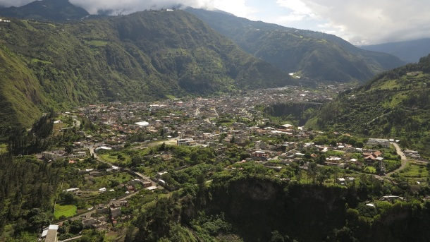 Baños is located on the northern foothills of the Tungurahua volcano. Mark was very excited as there were rumblings that the volcano might become active soon ...
